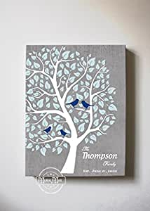 MuralMax - Personalized Couple Family Tree - Stretched Canvas Wall Art - Make Your Wedding & Anniversary Gifts Memorable - Unique Wall Decor - Color - Gray - 30-DAY - Size 12 x 16