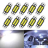KaTur Super Bright 5630 Chipsets Aluminum CanBus Error Free 1.25inch 31mm DE3175 DE3021 DE3022 6428 7065 LED Festoon Car Interior Door Map Dome Lights Xenon White 12V 10-Pack