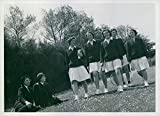 Vintage photo of Women's Royal naval Service, recreation, Wren writer and Wren stewards off for a set of tennis in a Naval Establishment where they are working. 1942.