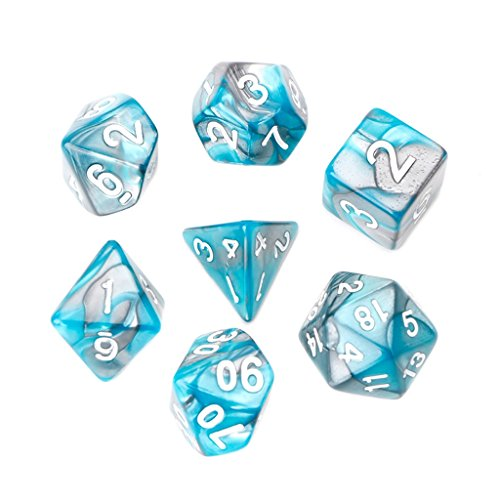 OTGO 7pcs/Set Portable Acrylic Polyhedral Dice Table Gaming Dice for TRPG Board Game Dungeons And Dragons D4-D20 (Sky Blue)