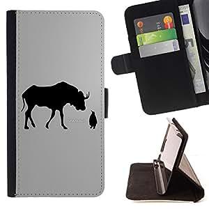- cool monochrome deer moose penguin Linux grey - - Prima caja de la PU billetera de cuero con ranuras para tarjetas, efectivo desmontable correa para l Funny HouseFOR Sony Xperia Z1 L39
