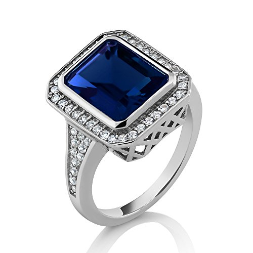 5.00 Ct Vintage Women's 925 Sterling Silver Emerald Cut Simulated Sapphire Ring (Available in size 5, 6, 7, 8, (Cut Sapphire Ring)