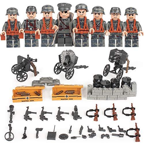 (German Squad WW2 World War II Custom Soldiers 8 Minifigs Set Weapons Blitzkrieg Building Blocks Compatible)