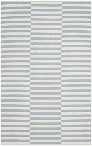 (Safavieh Montauk Collection MTK715B Handmade Flatweave Ivory and Light Blue Cotton Area Rug (4' x 6'))