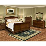 Wales Traditional Sleigh 5 Piece Eastern King Bedroom Set with Chest in Tobacco