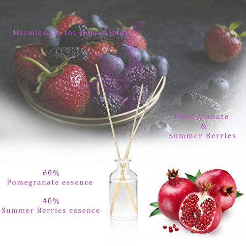 CPL Aromas Natural Fragrance a Delightful Faint Fragrance Reed Diffuser Sets Alcohol Free for Longer Life and Safety (Pomegranate & Summer Berries CONC AF)