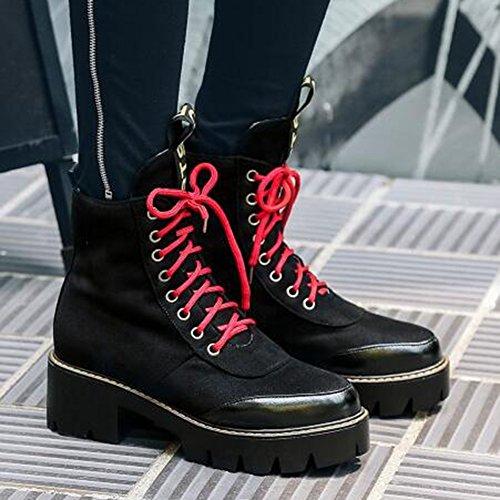 Easemax Kvinners Trendy Kontrastfarge Frostet Rund Tå Plattform Mid Chunky Hæl Lace Up Boots Svart