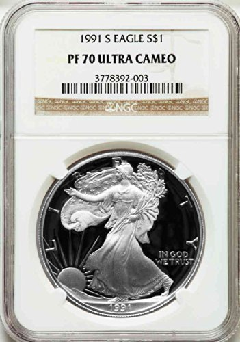 1991 S American Silver Eagle Dollar DCAM NGC PF70