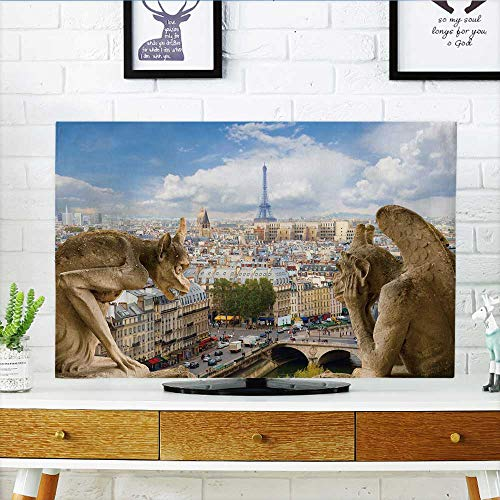 Philiphome Cover for Wall Mount tv Gargoyle on Notre Dame Cathedral and City of Paris France Cover Mount tv W36 x H60 INCH/TV 65