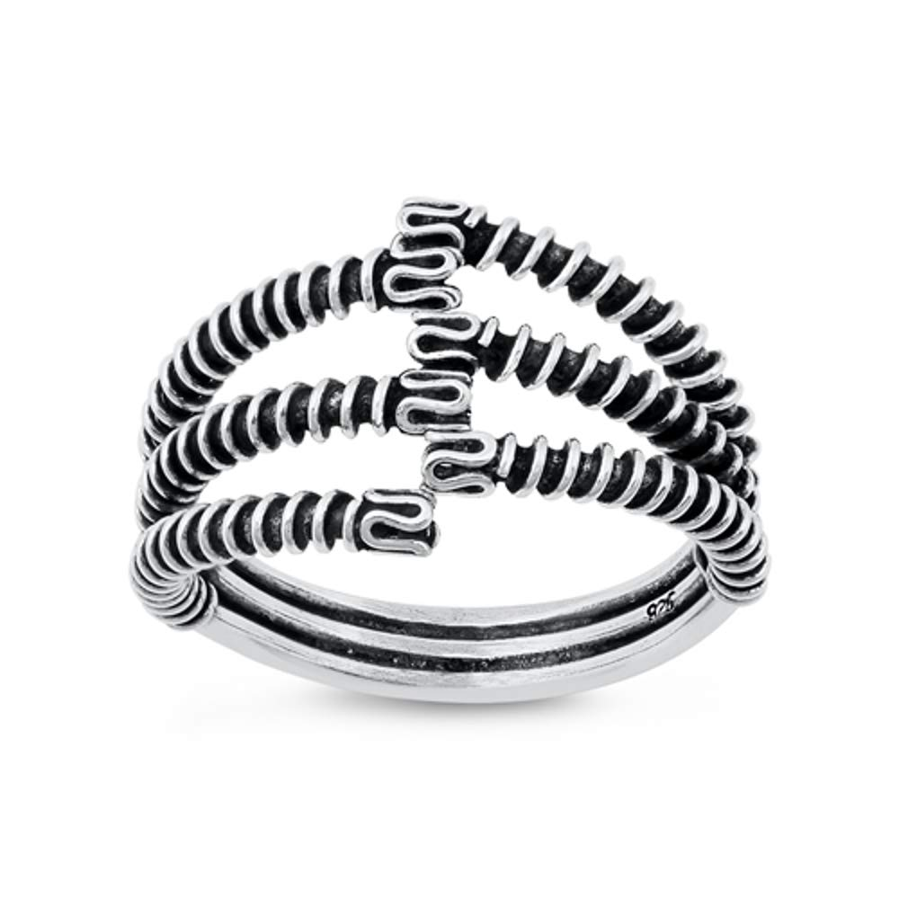 Abstract Cool Ring with Jewelry Box North Arrow Shop Electromagnetic Waves 925 Sterling Silver