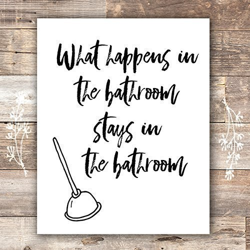 Funny Bathroom Signs (Set of 4) - Unframed - 8x10s | Bathroom Decor Wall Art by Dream Big Printables (Image #2)