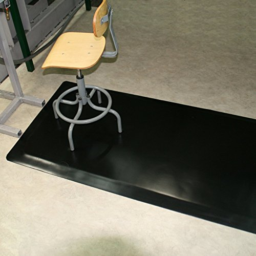Rhino Mats HDT-310RNS Heavy Duty Top Anti-Fatigue Mat with Rhi-No-Slip, 3' Width x 10' Length x 1/2'' Thickness, Black by Rhino Mats (Image #1)