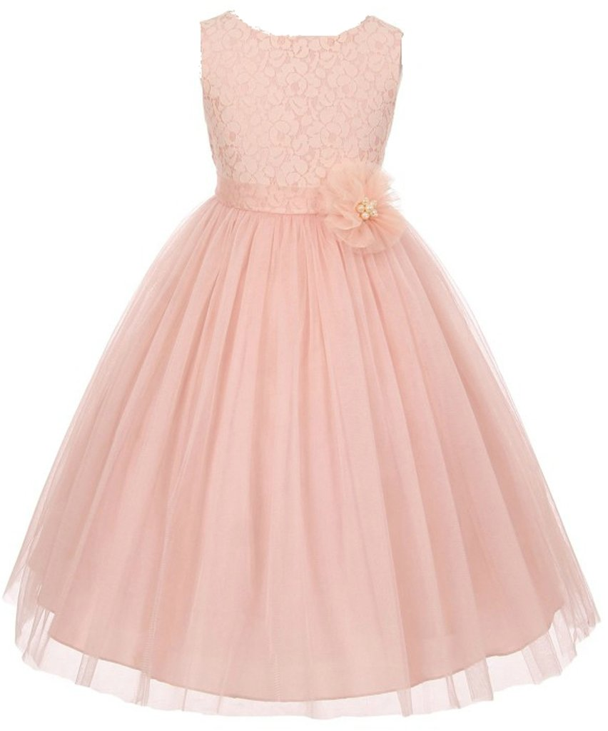 AkiDress Lace Top Tulle Bottom with Pearl Flower T-Length Dress for Big Girl Blush 8