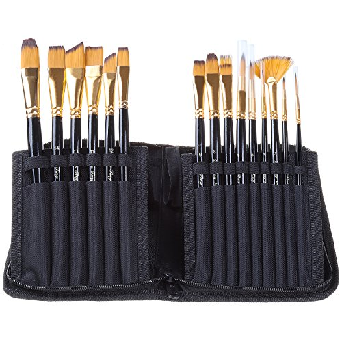 Travel Paint Brush Set with Brush holder Case Stand 15Pcs Professional Artist Paint Brushes for Watercolor Acrylic Oil Gouache Face Body Paint Nail Art, Long Wood Handle, Nylon Bristles