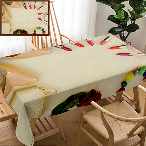 Skocici Unique Custom Design Cotton and Linen Blend Tablecloth Nude Colored High Heels with Lipsticks and Wallet Hero HeaderTablecovers for Rectangle Tables, 70