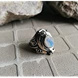 Rainbow Moonstone Ring, 925 Silver Ring, Locket Ring, Ring, Silver Rings, Boho Style, Secret Compartment Ring, Poison Ring, Designer Ring, Bezel Ring, Peaceful Ring, Charm Ring US All Size Ring