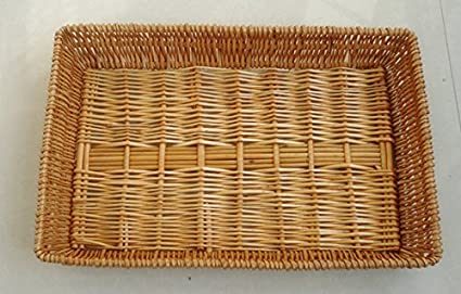 Eco-friendly Handmade Square Natural Wicker Nestable Bread Basket Fruit Basket, Food Storage Baskets