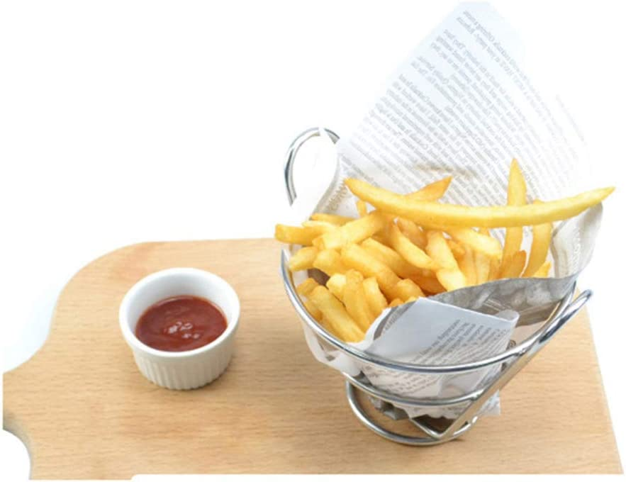 UPKOCH French Fries Holder French Fry Cone Dipping Cup Holder Metal parties Cone Fries Popcorn Vegetables Black