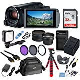 Canon Vixia HF R80 Wi-Fi 1080p HD Video Camera Camcorder + 32GB Card + Battery & Charger + Camera Case + Tripod + LED + 2 Lens Kit