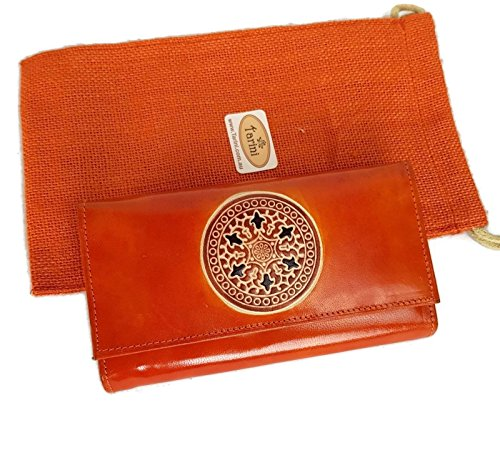Tarini Womens Leather wallet in Orange Mandala, genuine leather handcrafted clutch
