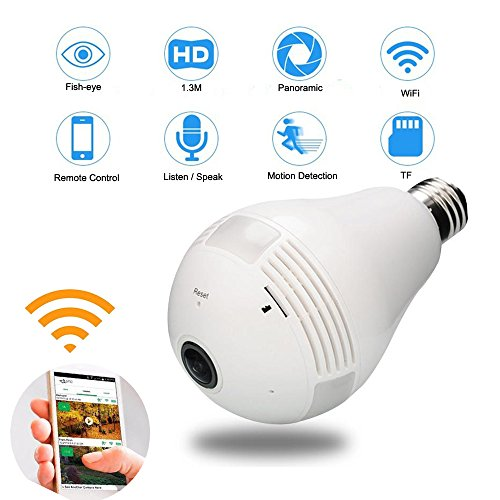 360 Degree Panoramic WiFi Camera Wireless Indoor Camera Home Security Wireless Camera, IR Night Version Alarm Listen and Speak Function ,TF Card Support