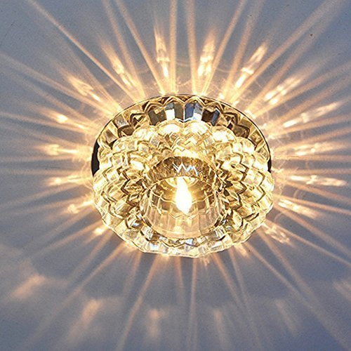 Sunix 5w modern high power crystal led ceiling lamp flush mounted foyer fixture light(warm white) amazon co uk lighting