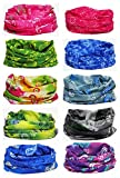 Multi-use Seamless Headband Tube Face Mask Headwrap Fashion Scarf 10 Pack (Style 4)