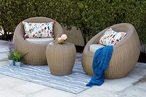 Quality Outdoor Living 65-517547 Aspen Chat Set, Tan Wicker Tan Cushions