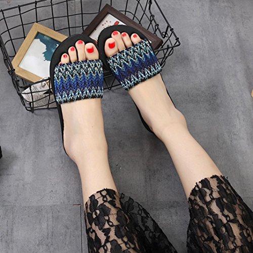 a Plano Para Chanclas Mujer Rayas de Azul Playa QinMM Sandalias Verano de Zapatos Baño agwxx4