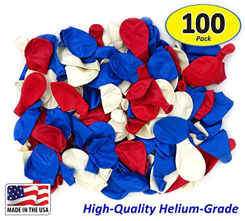Garage Sale Pup Pack of 100, Assorted Bright Red, White and Blue Color Latex Balloons, Made in USA! ()