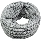 Gleader Nuovo grigio scaldacollo cappuccio della sciarpa dello scialle Inverno a maglia delle donne della signora