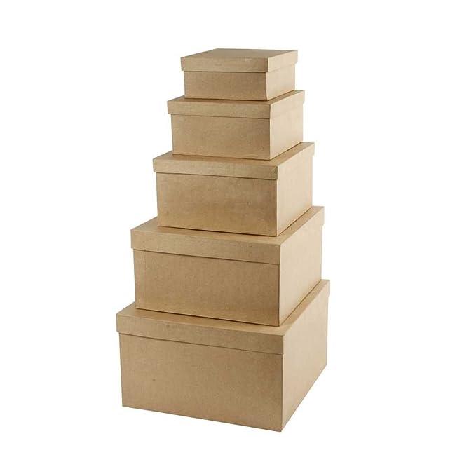 Creativ Boîtes gigognes carrées, 5 assorti