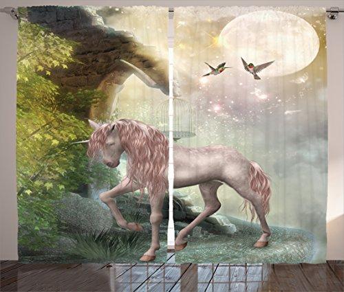 "Ambesonne Hummingbirds Curtains, Unicorn Green Spring Leaves Birds Twinkling Star Moon Mystic Fantasy Fairytale, Living Room Bedroom Window Drapes 2 Panel Set, 108"" X 84"", Pink Mint"