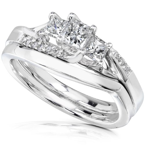 Diamond Wedding Set 1/2 carat (ctw) in 14K White Gold, Size 10.5