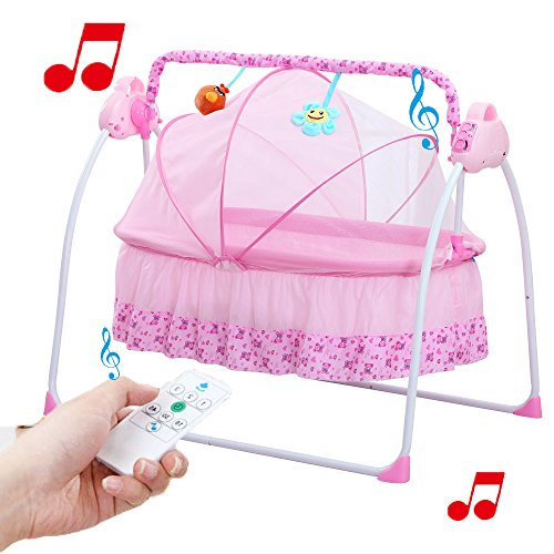 Big Space Electric Baby Crib Portable Infant Rocker Baby Swing Bed Baby Cradle (White) by Spolor