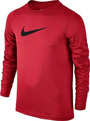 Nike Boys Legend Long Sleeve Athletic T-Shirt (University Red/Black, Large)