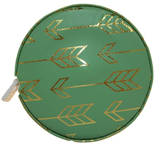 Fashion Smart Mini Metallic Retractable 5 Foot Tape Measure (Green Arrow)