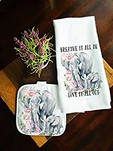 Kitchen Towel and Potholder Home Decor Gift Set Mother and Baby Elephant
