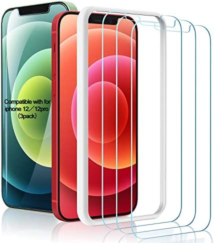 (3 Pack ) Amuoc Tempered Glass Film for Apple iPhone 12 Screen Protector and iPhone 12 professional Screen Protector, with (Easy Installation Tray) Anti Scratch, Bubble Fre, Apple iPhone 12/12Pro/6.1inch