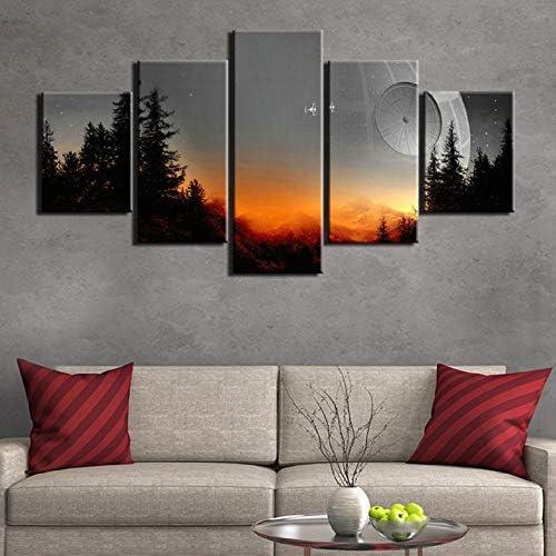 Wslin canvas prints Modern gedrukt 5 stuks film canvas schilderij wooncultuur muurkunst afbeelding woonkamer poster en prints kunstwerk prints op canvas 200 x 100 cm