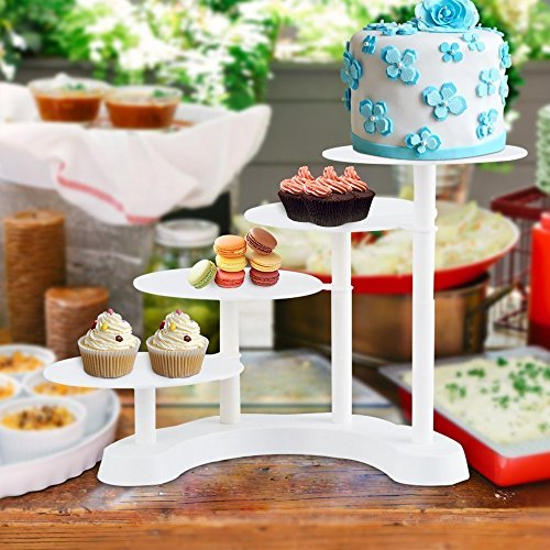 4 tier Celebration Party Wedding Multilayer Cup Cake Stand, Stacked Party Cupcake Stand, Food Display Stand, tiered cake stand (3 Tire)