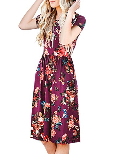 (LEXISLOVE Womens Dresses Round Neck Floral Casual Swing Pleated Midi T Shirt Dress with Pockets Burgundy XL)