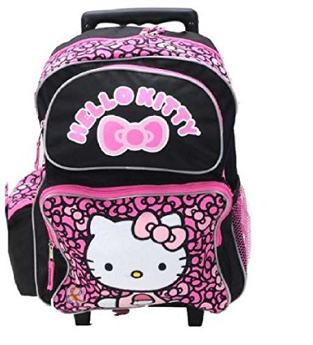 Hello Kitty Rolling Backpack Ribbons Black/Pink