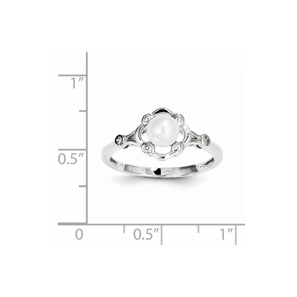 0.02ct,G-H 925 Sterling Silver Rhodium plated Pearl and Diamond Engagement Ring