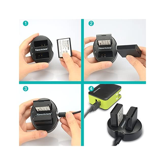 Newmowa Dual USB Charger for Canon LP-E10 and Canon EOS Rebel T3  T5  T6  Kiss X50  Kiss X70  EOS 1100D  EOS 1200D  EOS 1300D Digital