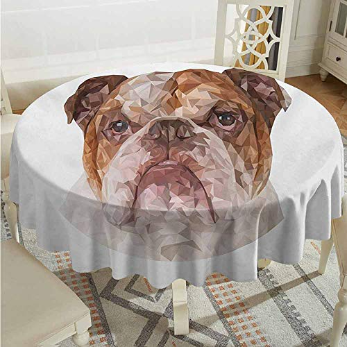 Suchashome Restaurant Round Tablecloth English Bulldog Polygonal Bulldog Design with Geometric Triangles Abstract Animal Drawing Brown Beige Fabric Tablecloth Diameter 54