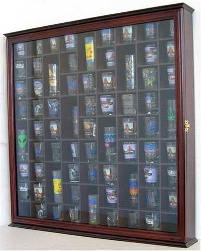 Cherry Large Wall Shadow Box Cabinet To Hold 71 Shot Glasses Real Glass Door Hardwood by Display Case