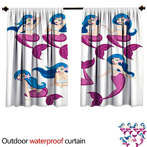 Price comparison product image BlountDecor Mermaid Decorsun Block Outdoor Curtain W63 x L72(160cm x 183cm) Mermaid in 7 Different Poses Fairy Creature Children Story Book CharactersAnti-Water