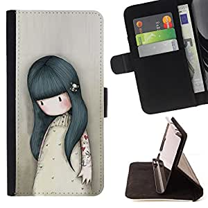 For HTC One M9 Girl Mother Mom Kids Drawing Sad Deep Style PU Leather Case Wallet Flip Stand Flap Closure Cover