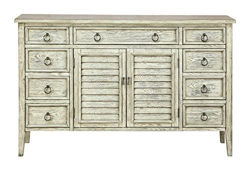 Treasure Trove 17301 Nine Drawer Two Door Credenza, Ivory